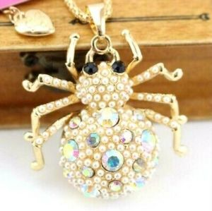Betsey Johnson Spider Pendent Necklace Pearl